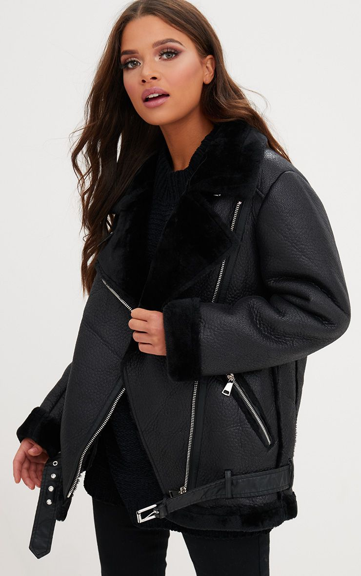 Emilia Black Faux Suede Aviator Jacket Coats Amp Jackets
