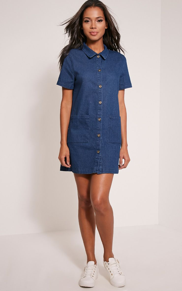 Leanne Blue Dark Wash Denim Pocket Front Dress 1
