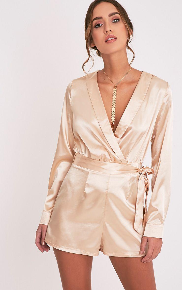 Amlie Champagne Satin Wrap Shirt Playsuit 1