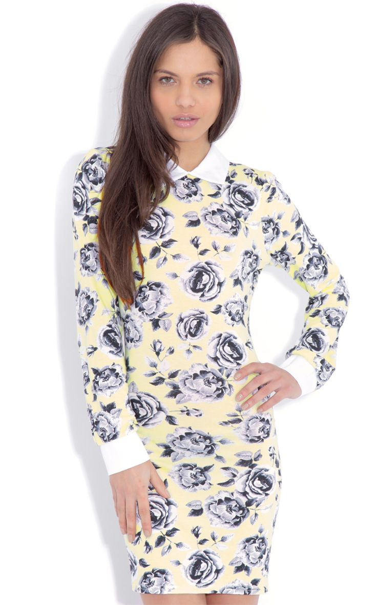 Demi Yellow Floral Collar Dress-10 1