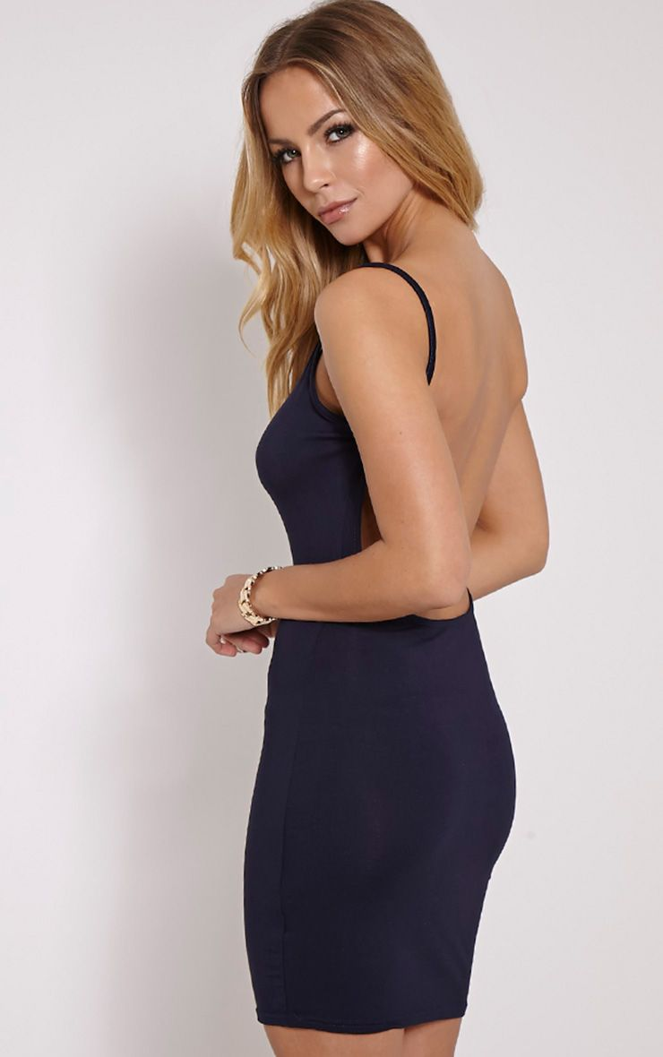 Natallia Navy Scoop Back Dress