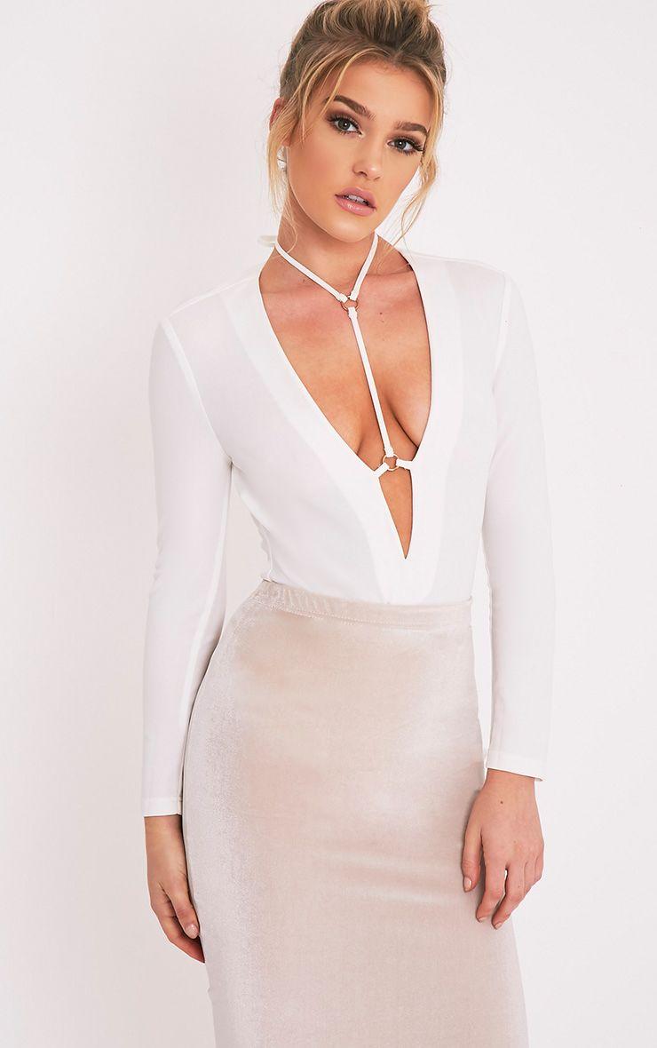 Livvie Cream Harness Longsleeve Thong Bodysuit 1
