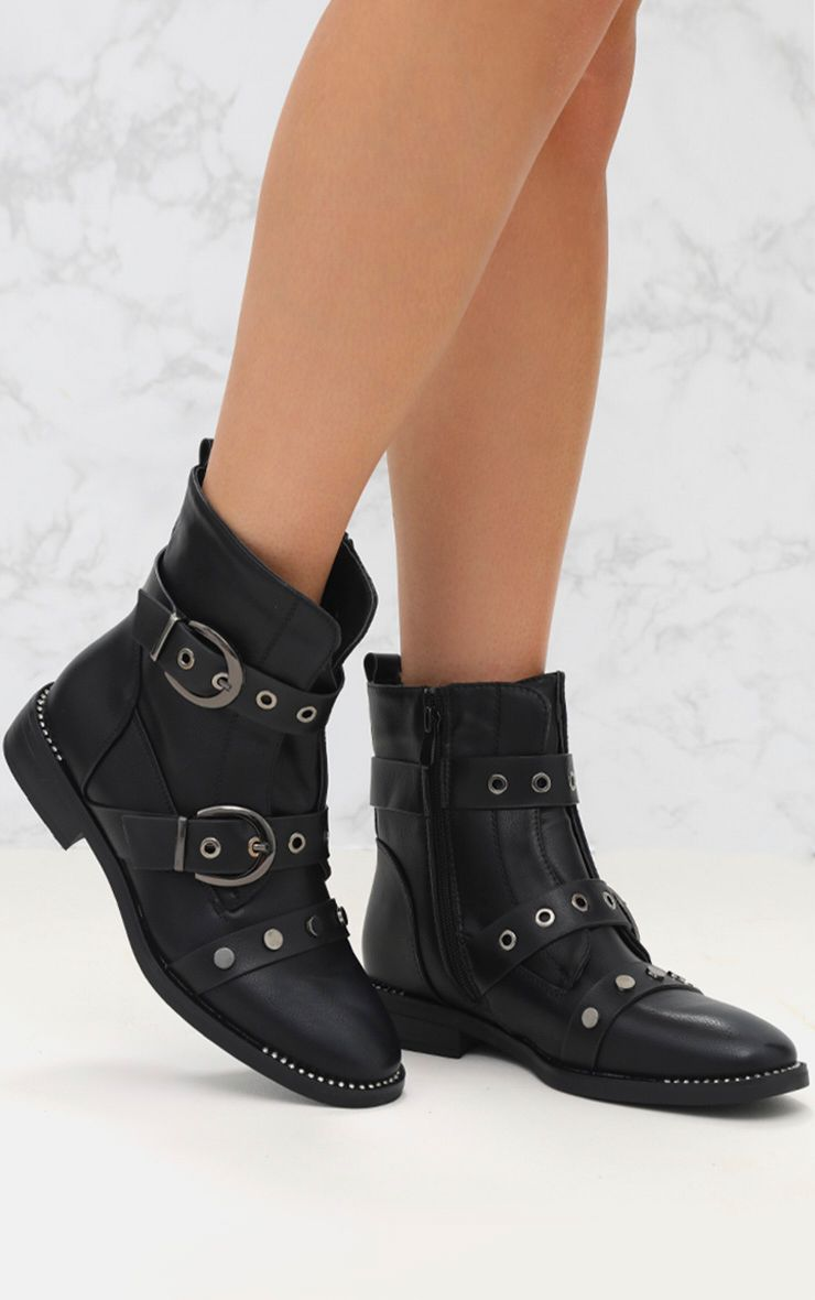 Black Buckle PU Biker Boot
