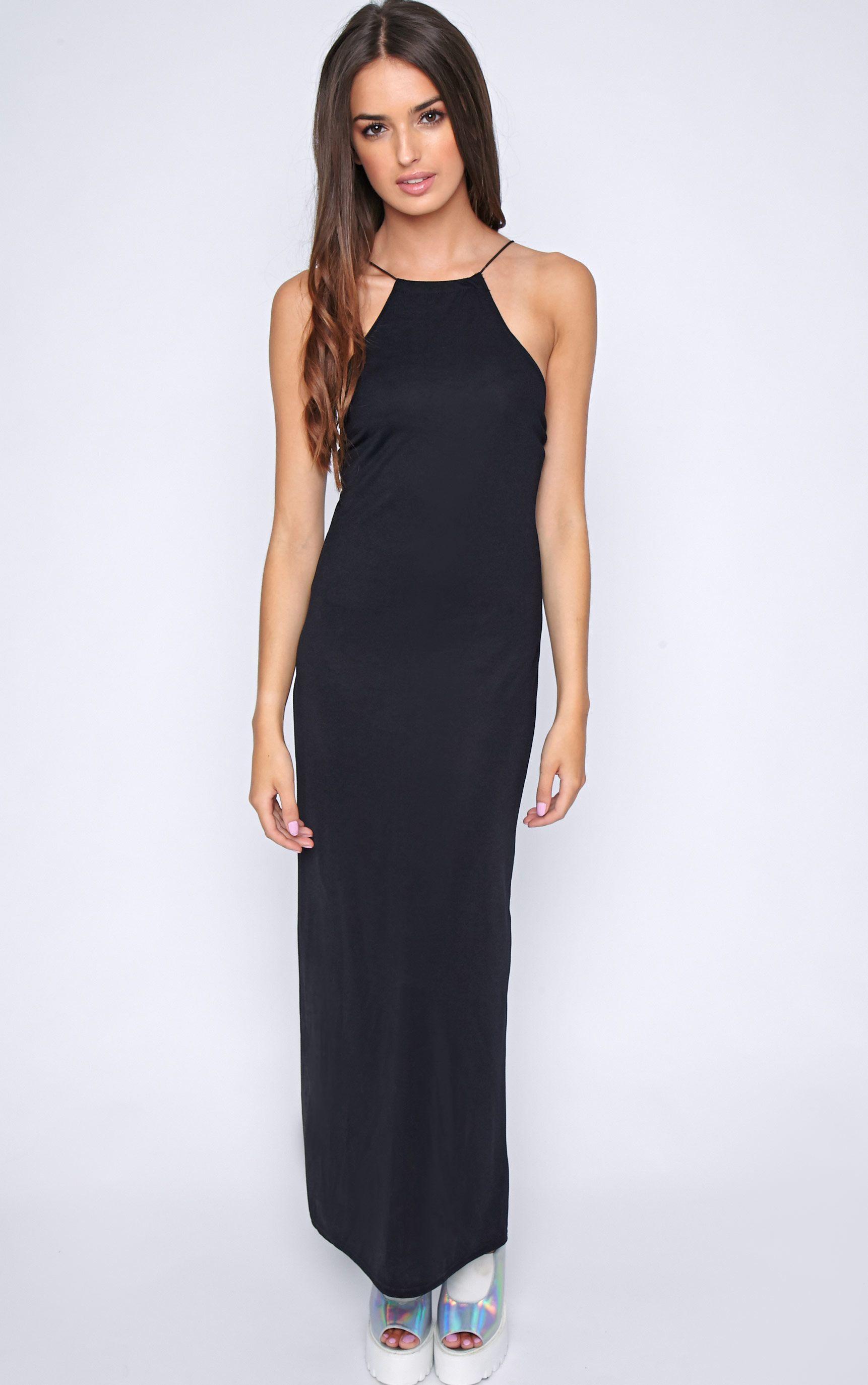 Becca Black Cross Back Maxi Dress 1