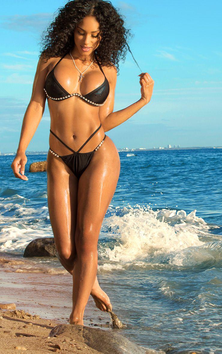 Black Diamante Trim Cleavage Wire Bikini Top
