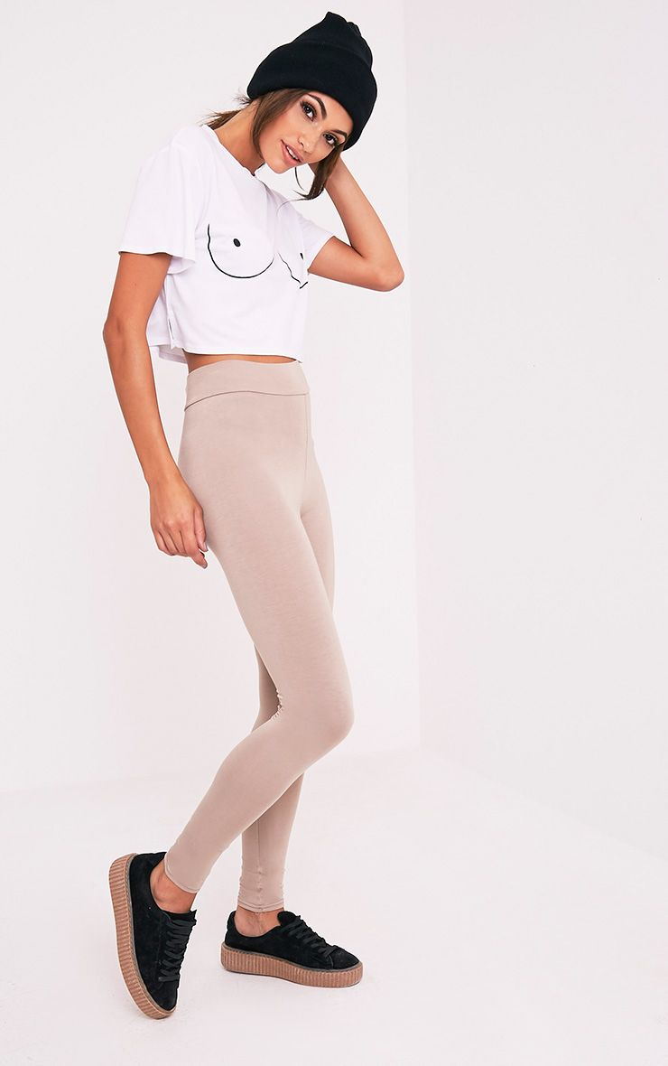 Basic Taupe High Waisted Jersey Leggings