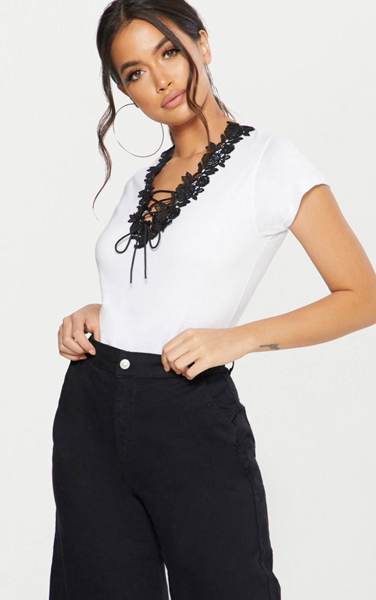 White Lace Up Fitted T Shirt