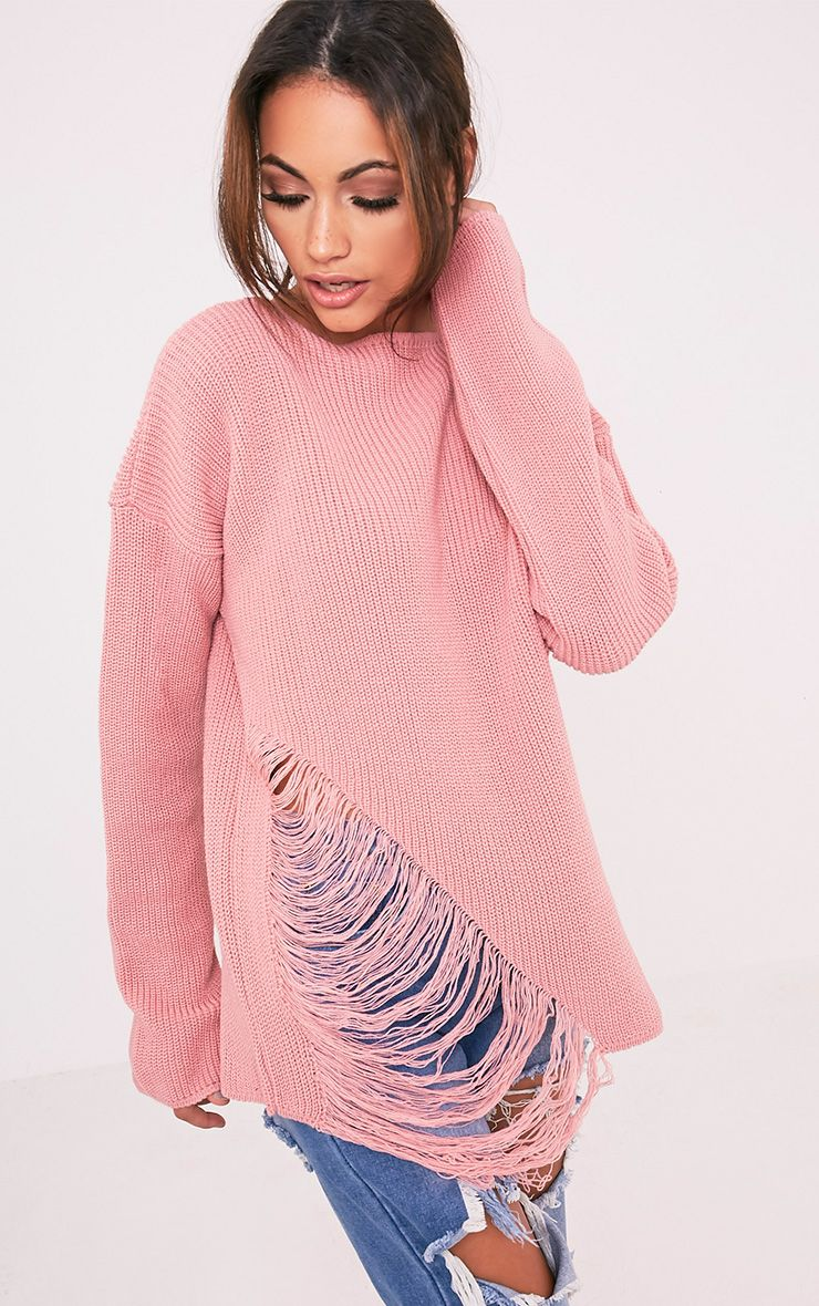 Aislinn Blush Ladder Distress OverSized Jumper