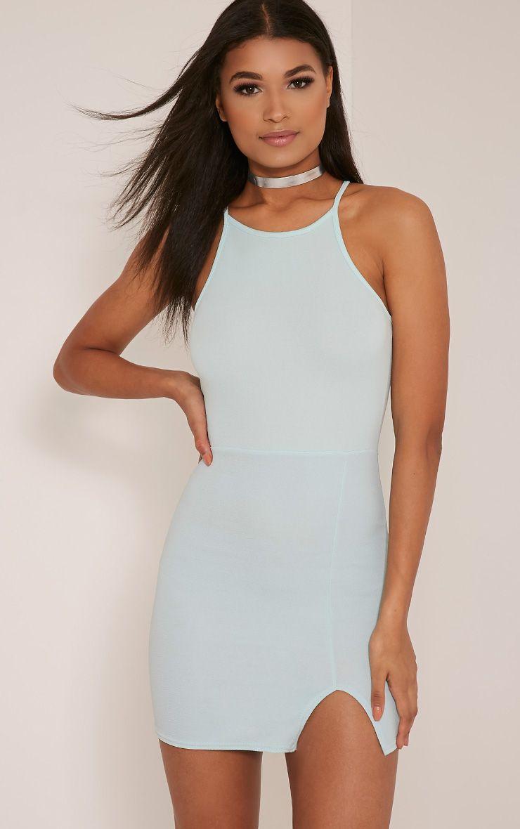 Aniqah Mint High Neck Split Detail Bodycon Dress 1
