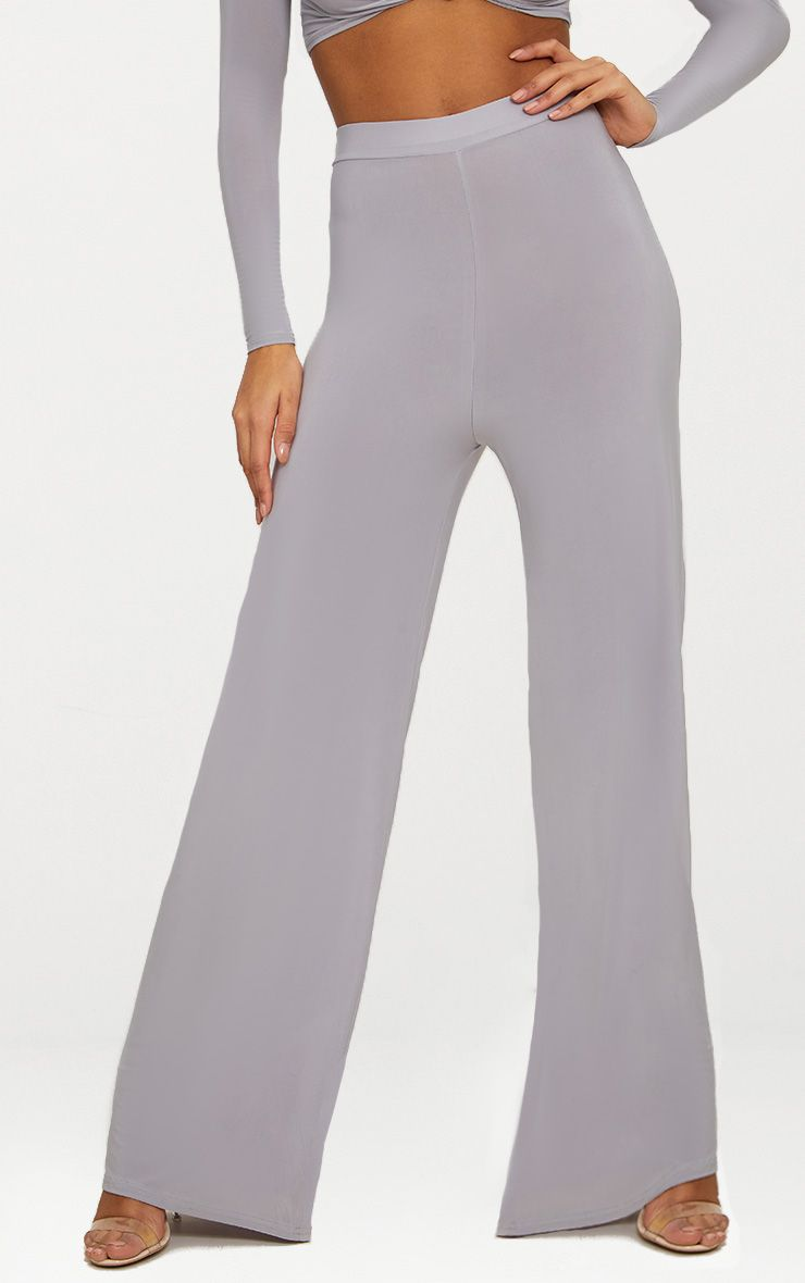 ICE GREY SLINKY WIDE LEG TROUSERS