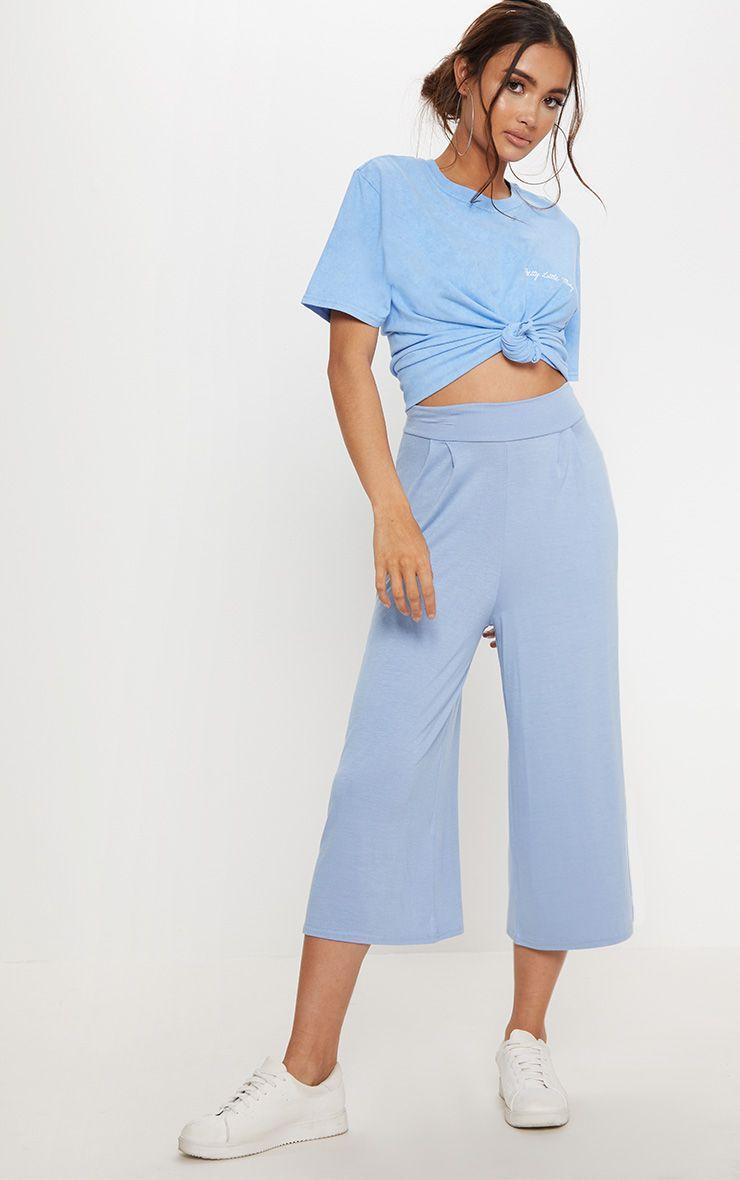 Jupe-culotte basique bleu cendré