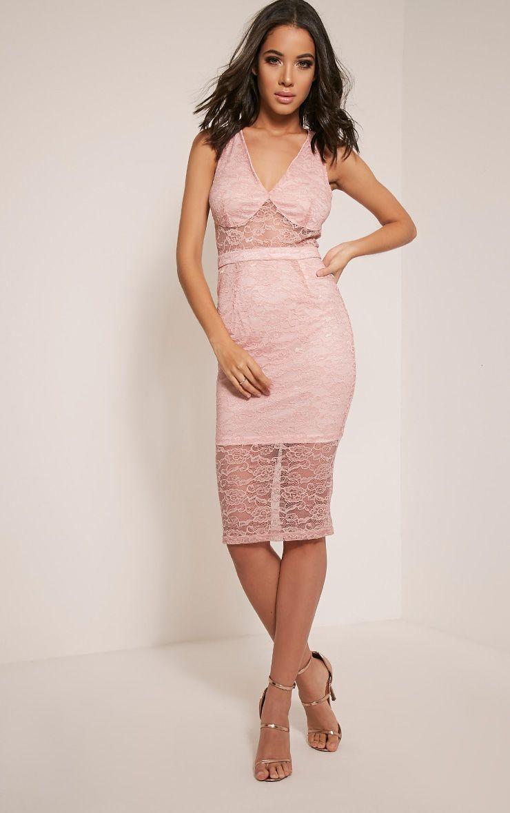 Kirstie Dusty Pink Sheer Lace Panel Insert Midi Dress 1