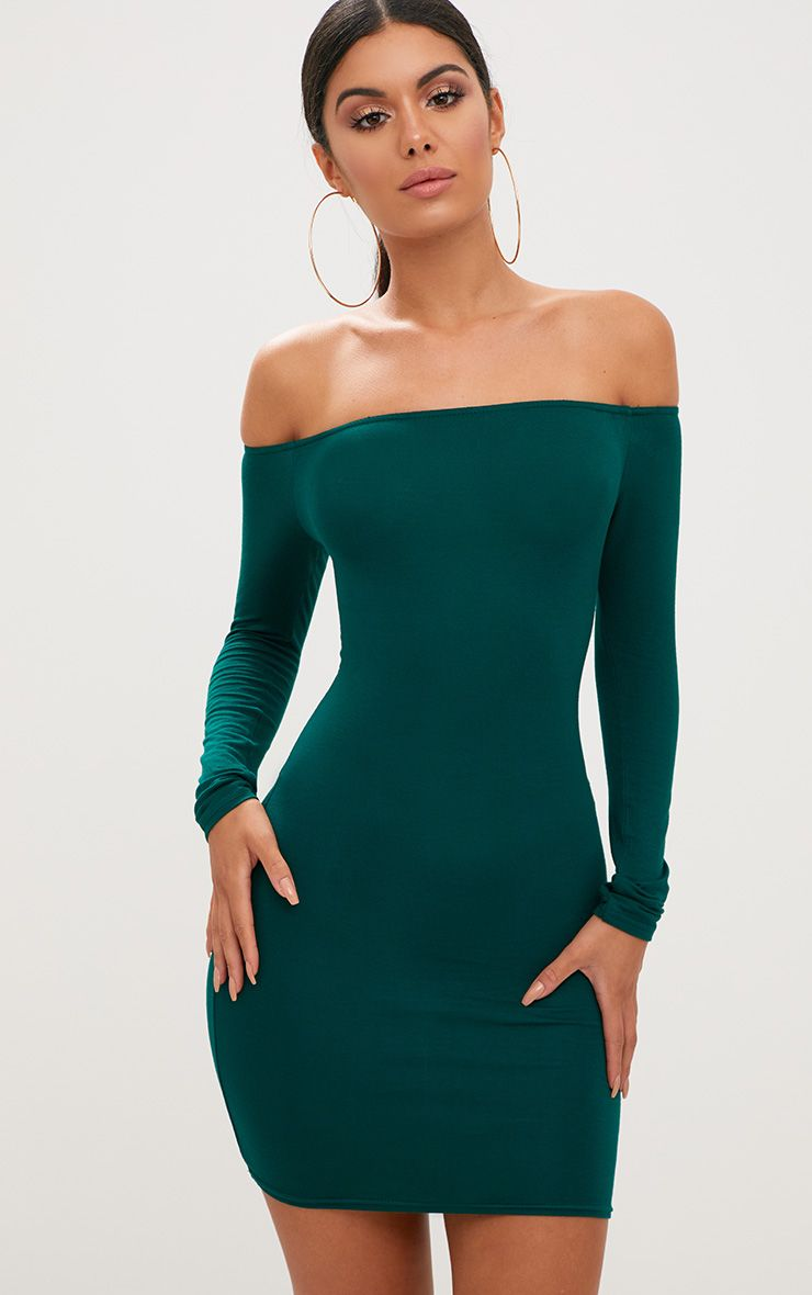Basic Emerald Green Bardot Bodycon Dress