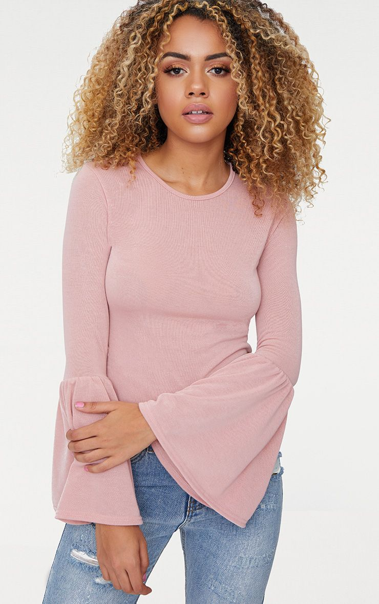 Pink Flare Sleeve Knitted Top