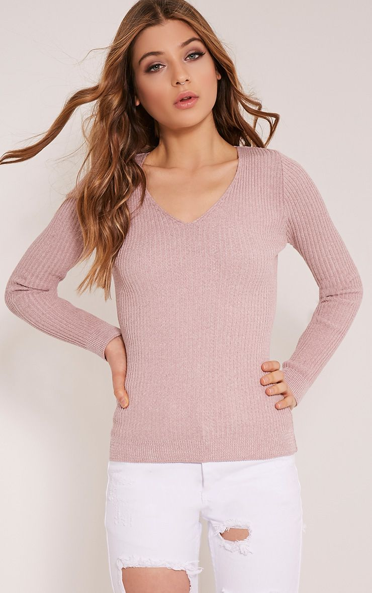 Skylah Mink Ribbed V Neck Jumper 1