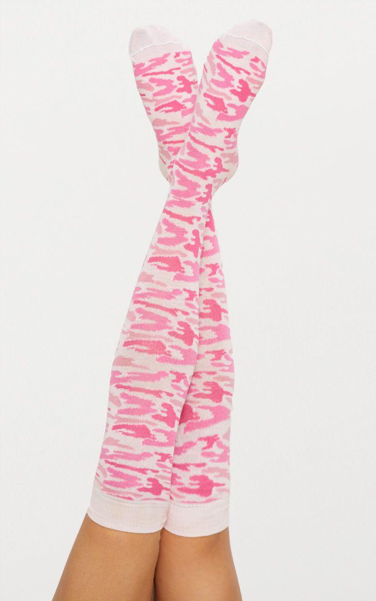 Pink Camo Over Knee Socks