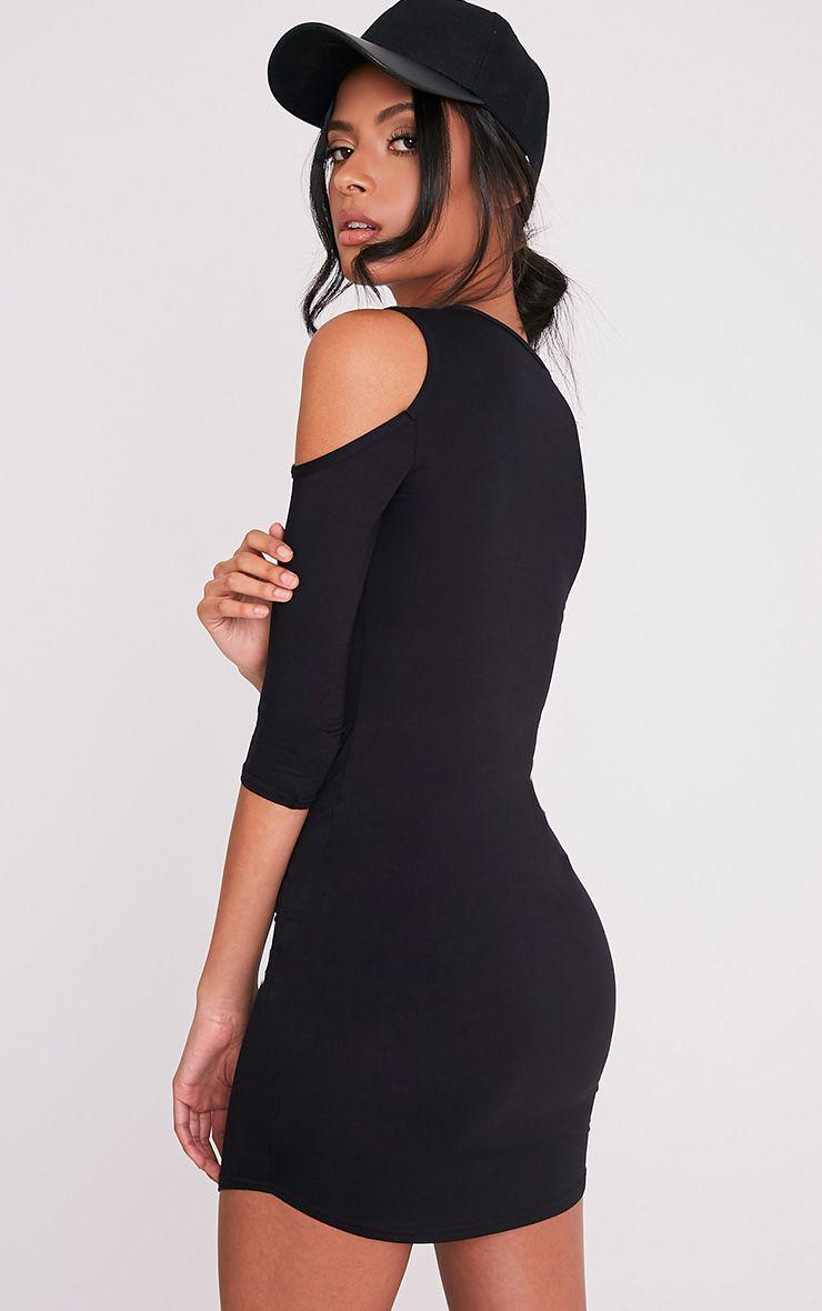 Maysie Black Cold Shoulder Curved Hem Bodycon Dress 1