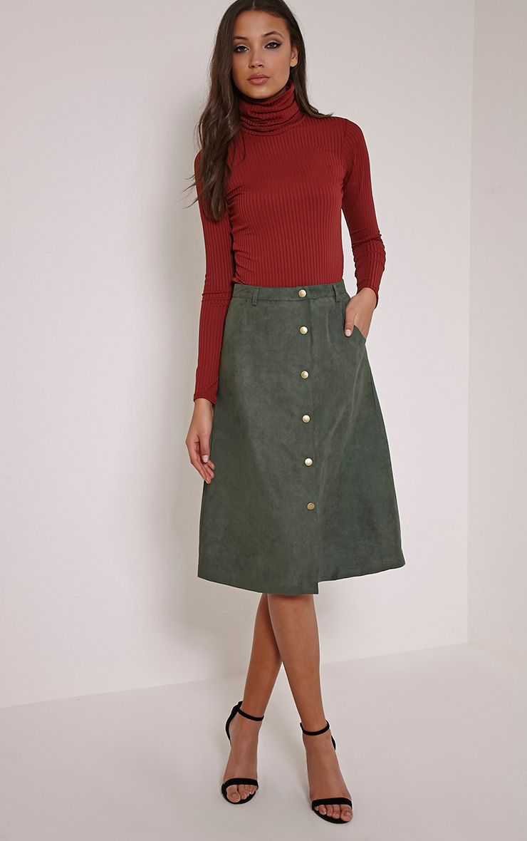 Zahara Khaki Faux Suede Button Down Midi Skirt 1