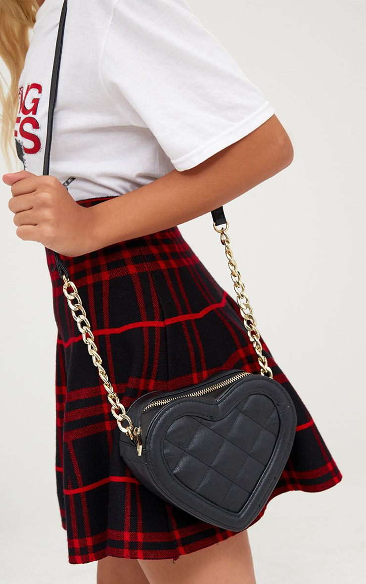 Black Quilted Heart Shoulder Bag