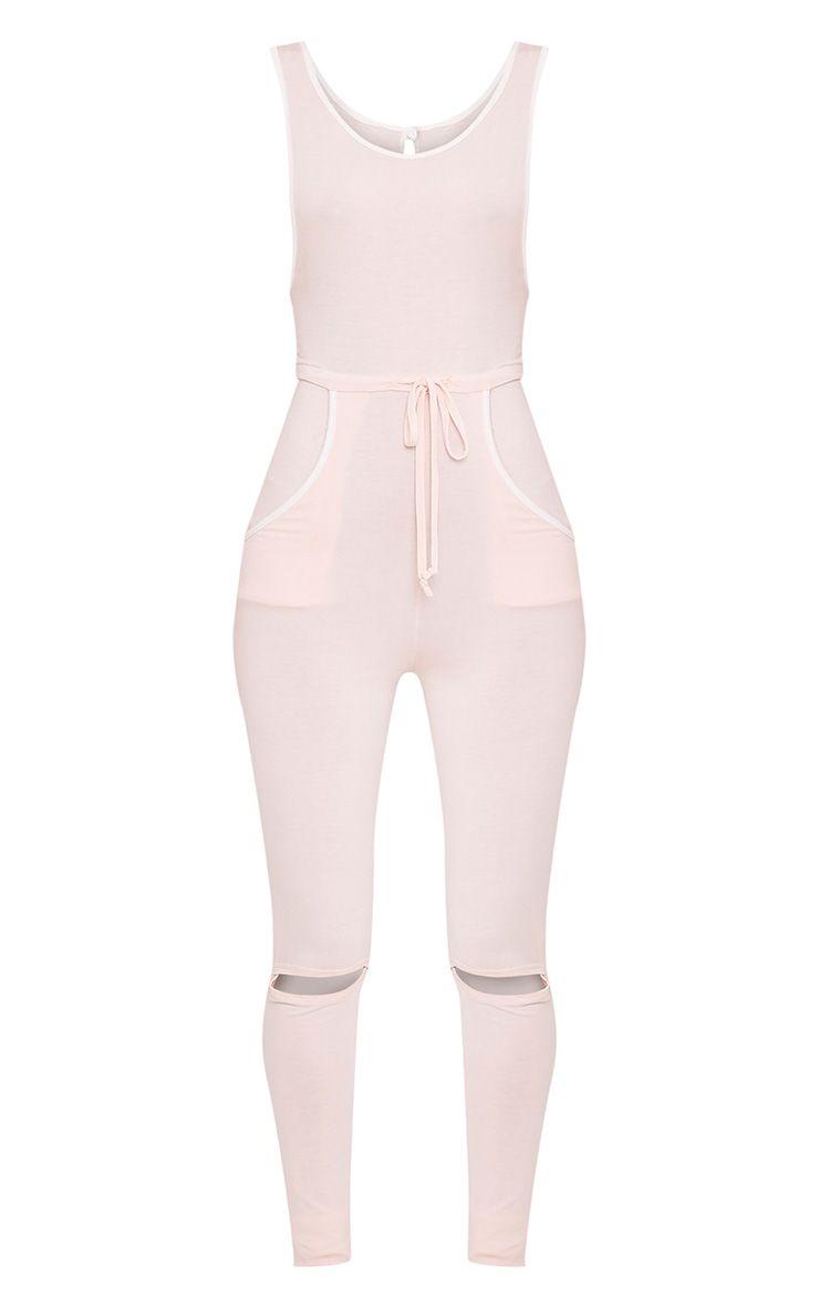 Taran Nude Slit Knee Runner Style Jumpsuit 3