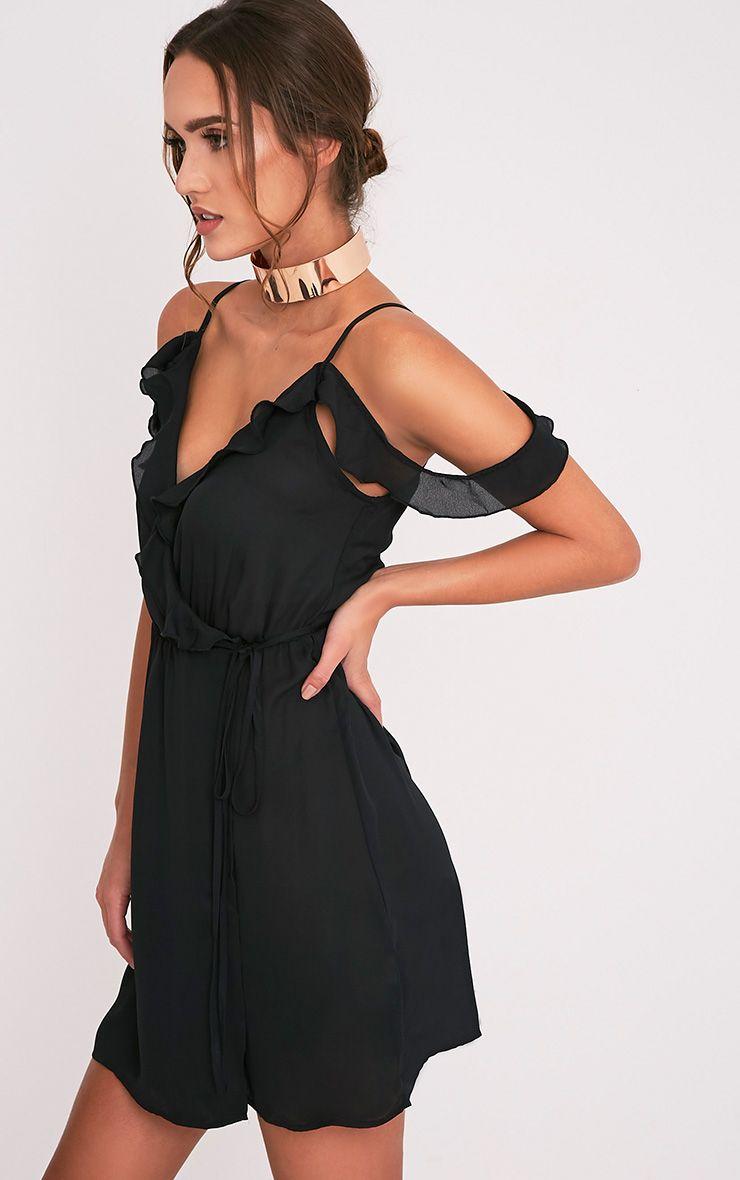 Bianca Black Cold Shoulder Frill Detail Swing Dress