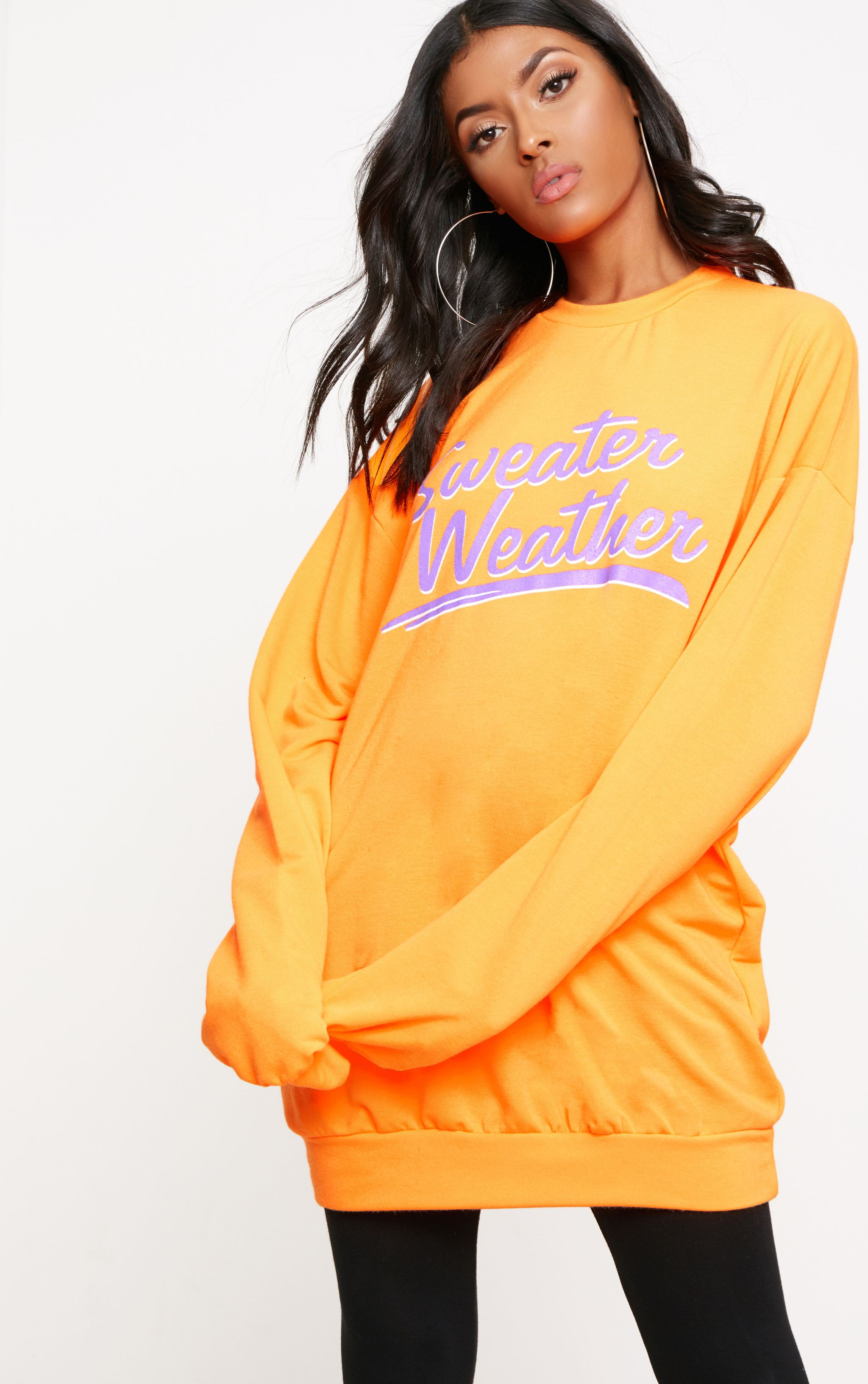 Orange Sweater Weather Slogan Sweater