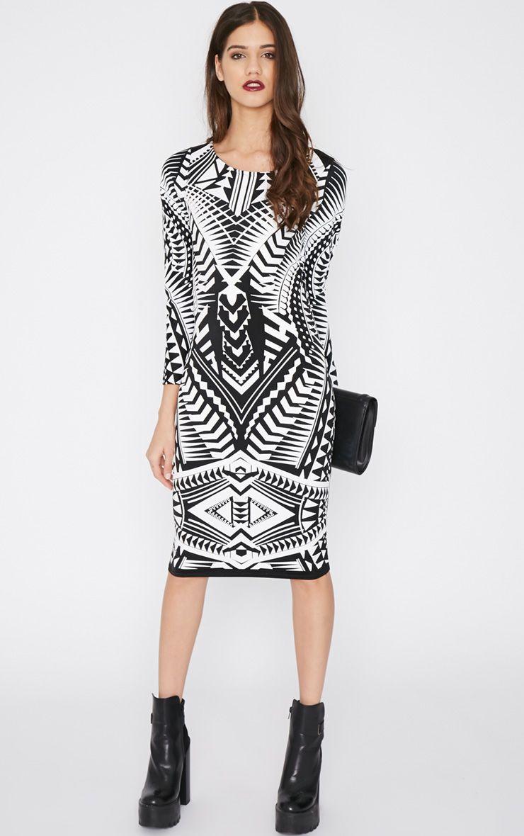 Elodie Black Aztec Glitter Print Midi Dress 1