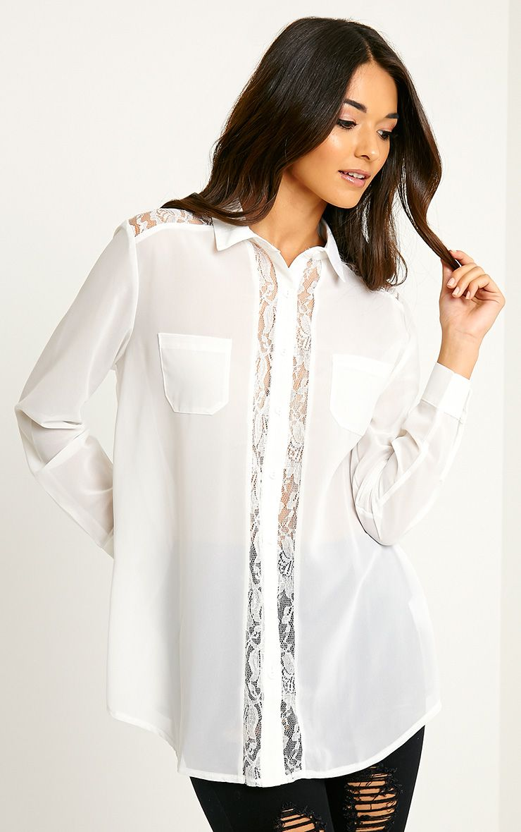 Ruri Cream Lace Detail Shirt 1