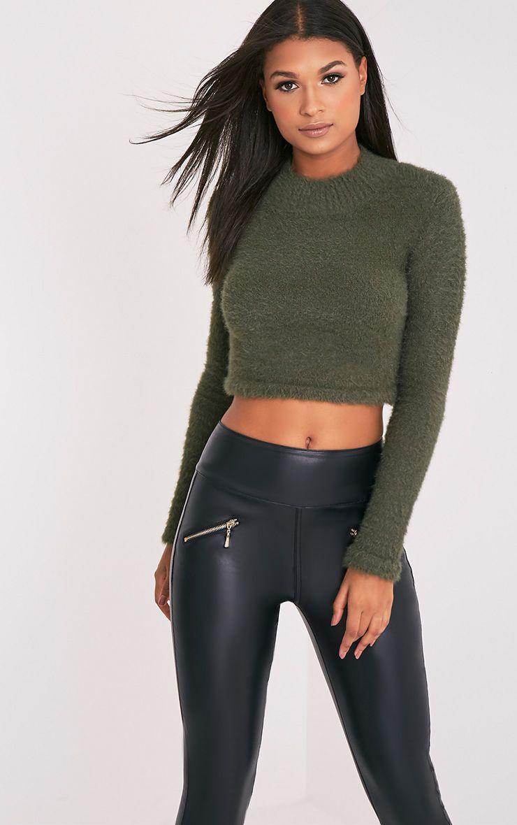 Ralda Khaki Fluffy Knit Long Sleeve Crop Jumper 1