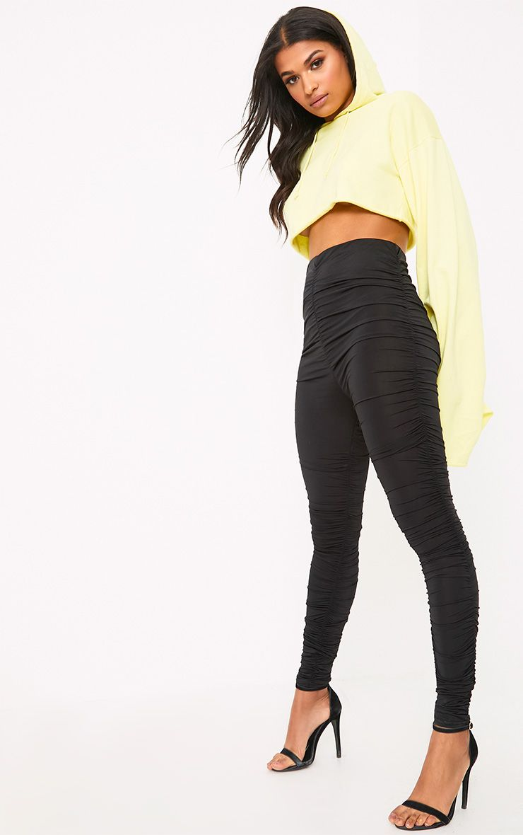 Black Slinky Ruched Skinny Trousers