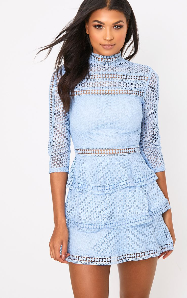 Caya Dusty Blue Lace Panel Tiered Mini Dress