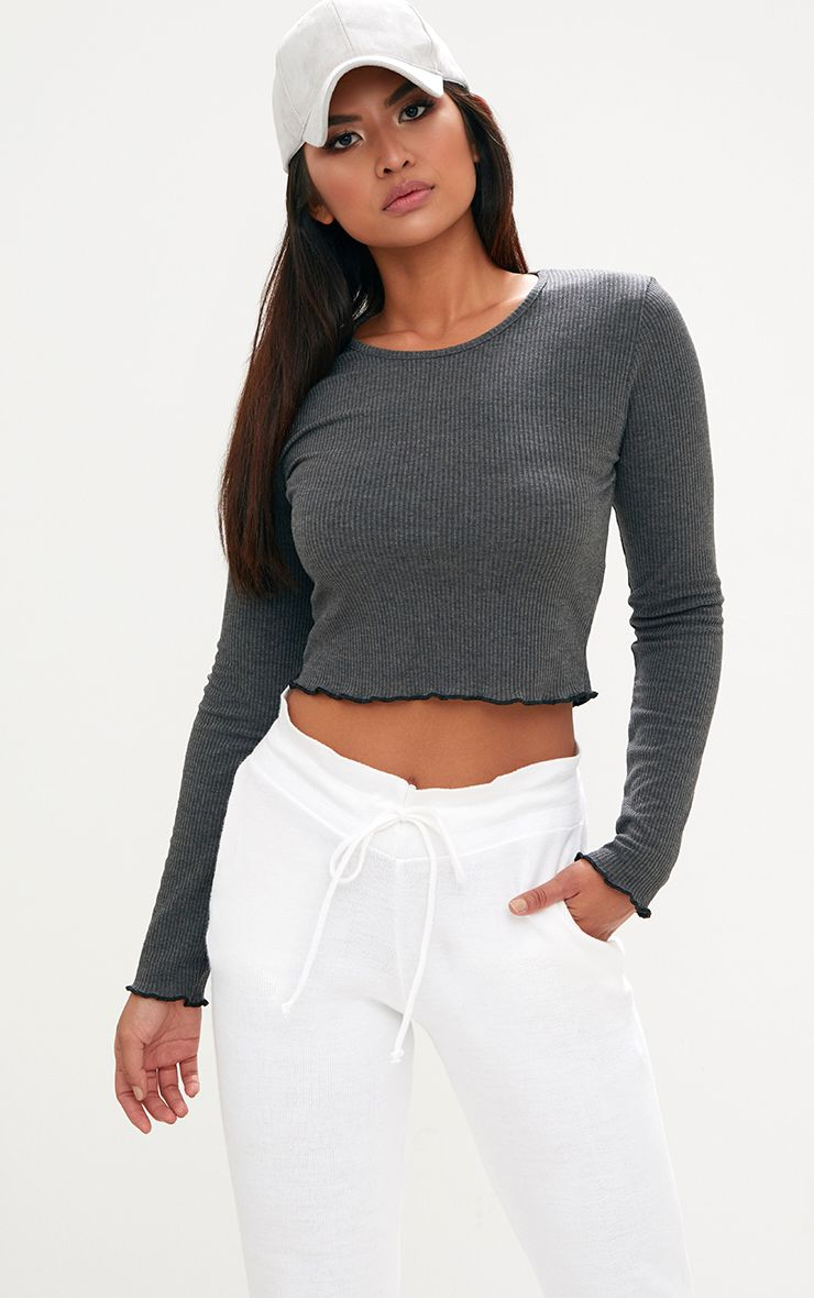 Grey Ribbed Longsleeve Frill Edge Crop Top