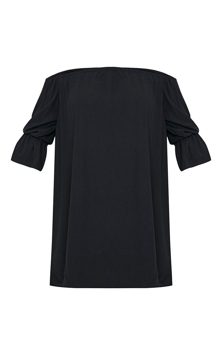 Kandle robe trapèze bardot noire à ourlet arrondi 4