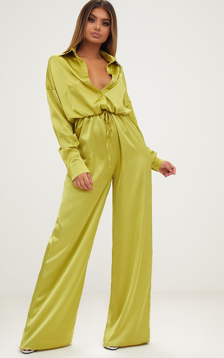 Lime Extreme Oversized Satin Wide Leg Jumpsuit