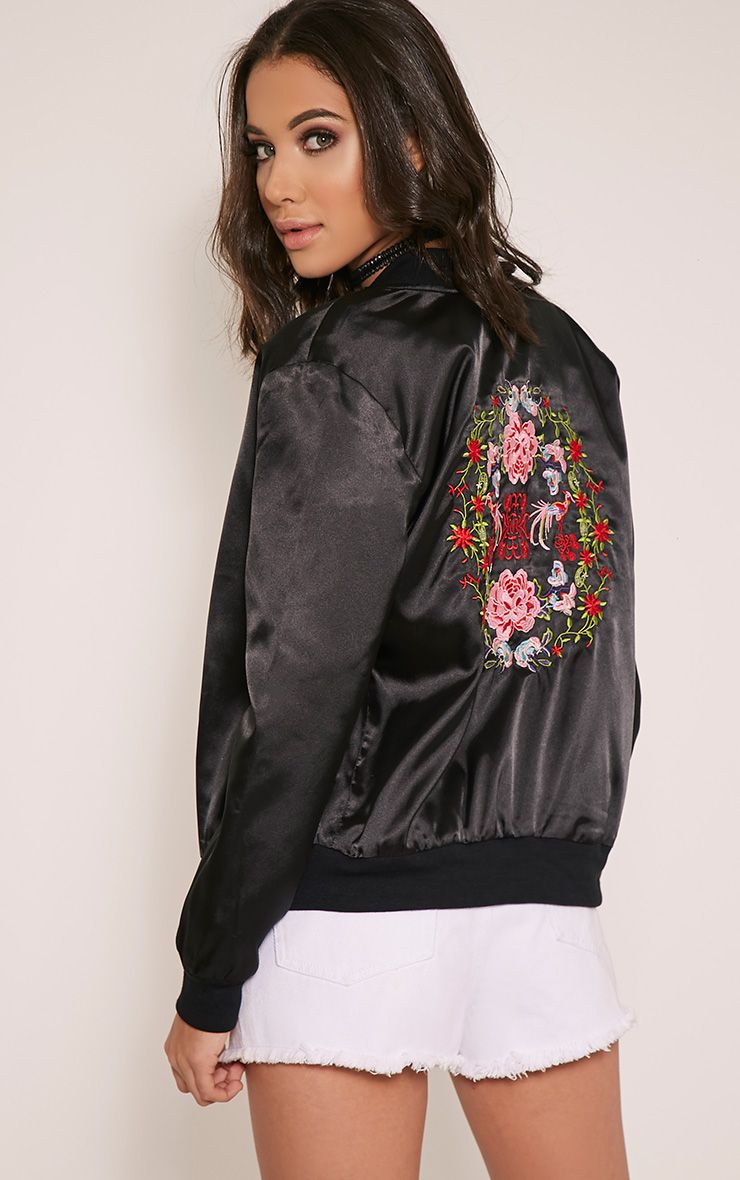 Tonia Black Satin Oriental Embroidered Bomber Jacket