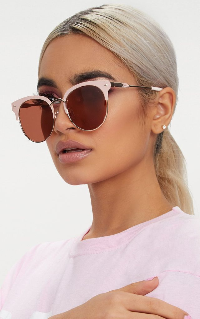 Pink Frame Rounded Aviator Sunglasses