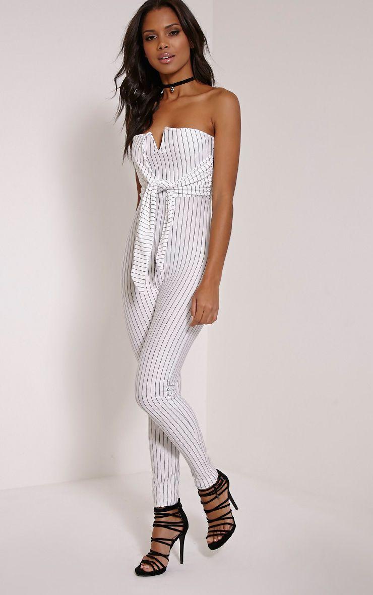 Daisie White Pinstripe Tie Front Jumpsuit 1
