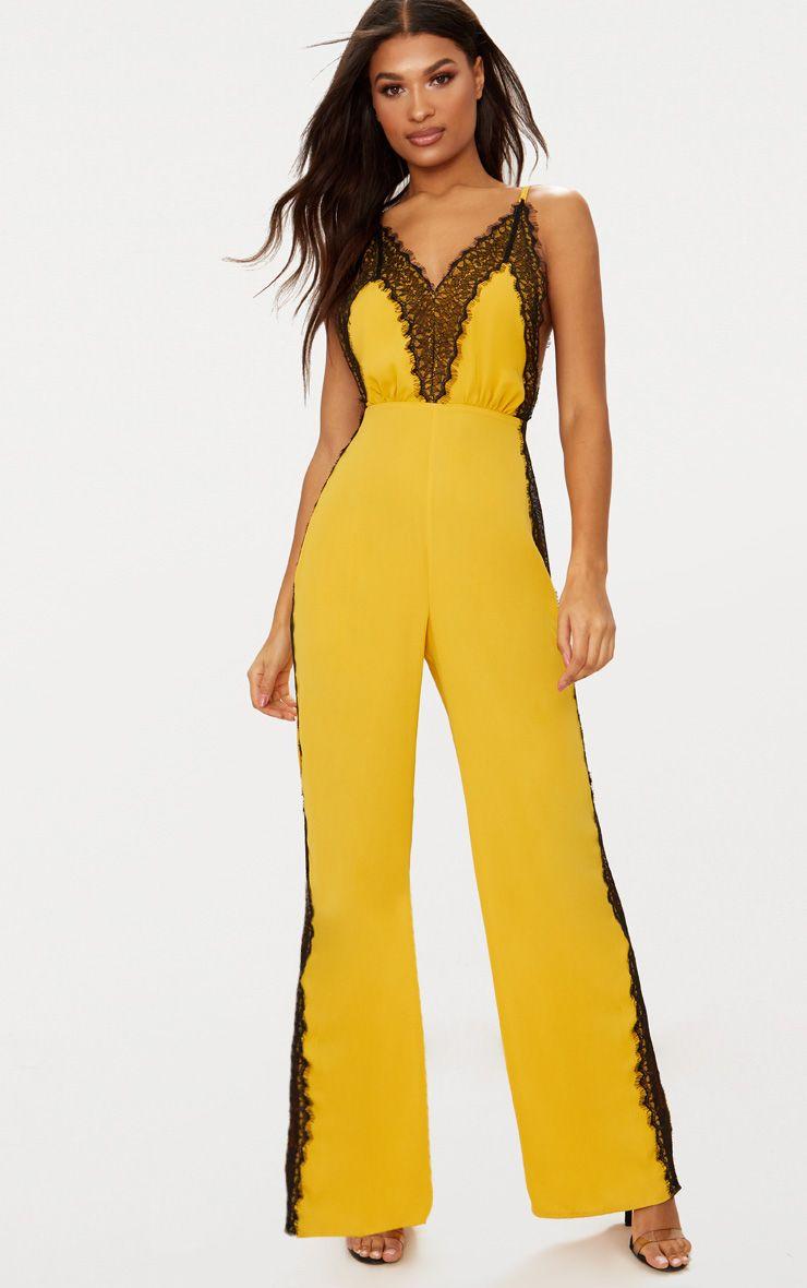 Yellow Contrast Lace Trim Jumpsuit