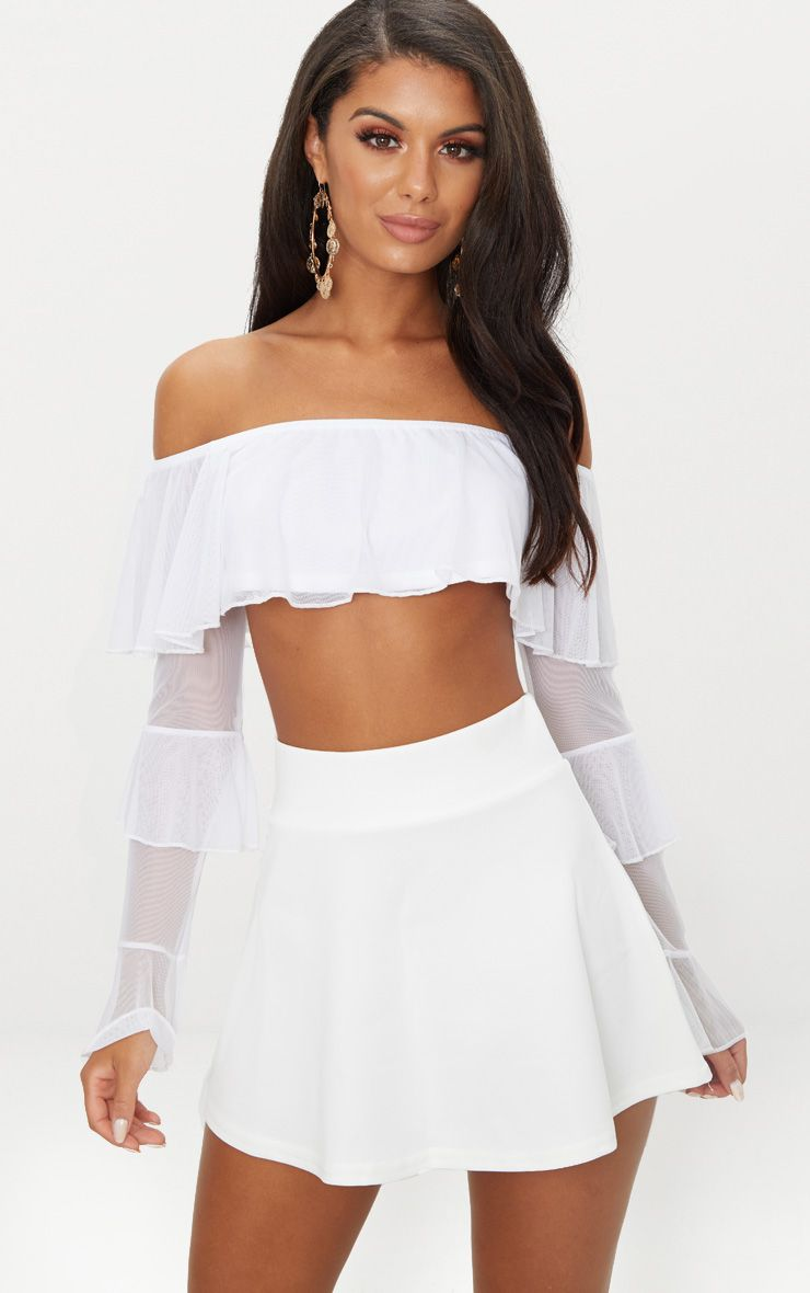 White Mesh Frill Detail Bandeau Crop Top