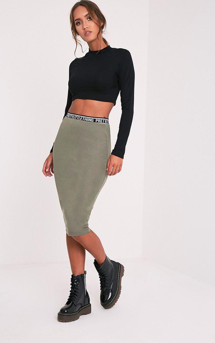 PrettyLittleThing Khaki Midi Skirt