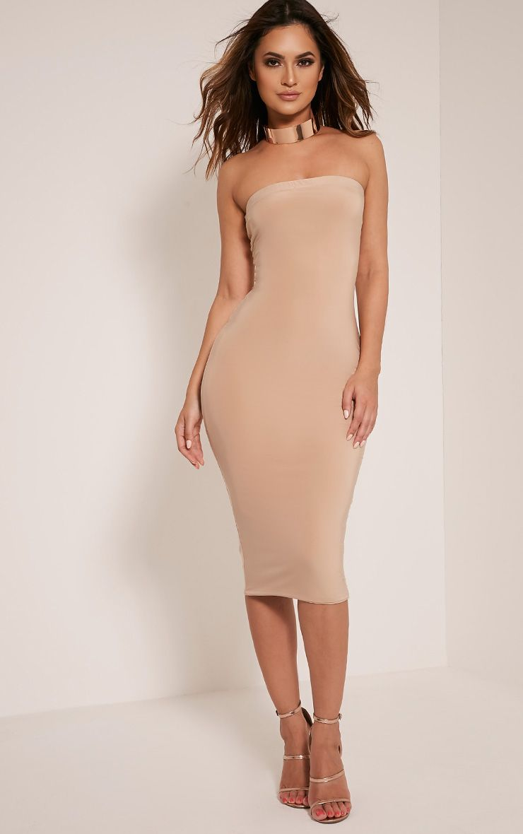 Kia Stone Bandeau Slinky Midi Dress