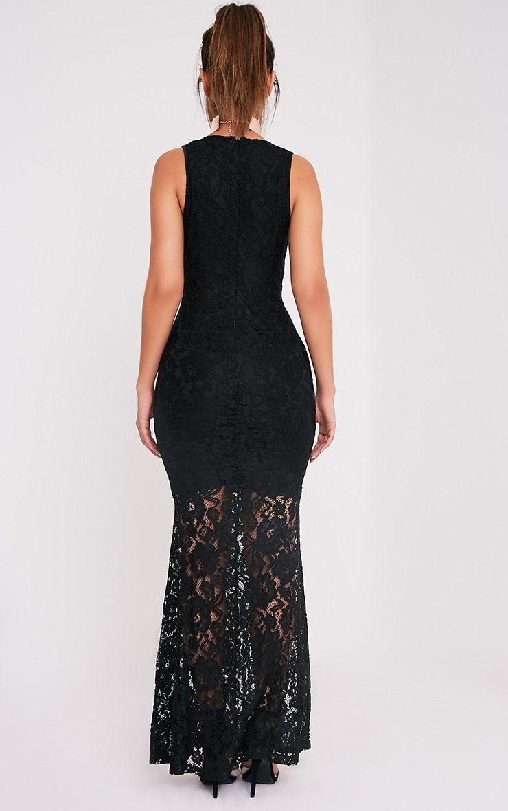 Tarra robe sirène maxi en dentelle noire 2