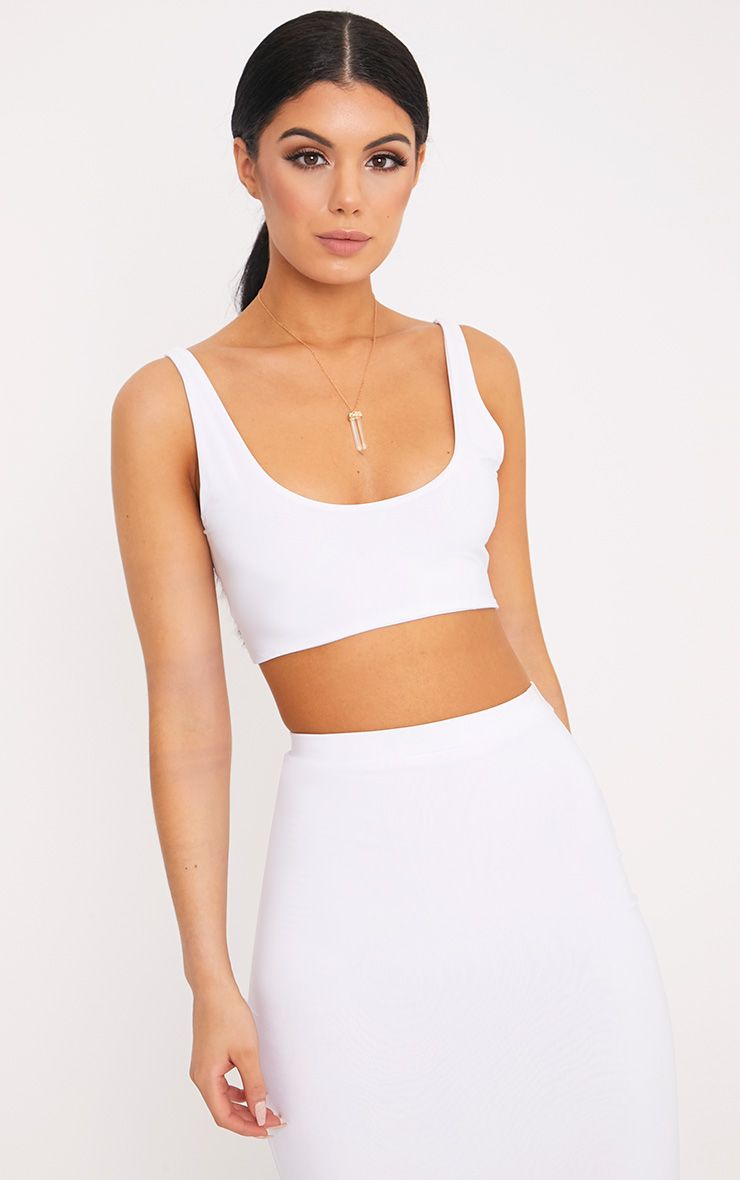 Aidy White Slinky Round Neck Sleeveless Crop Top  1