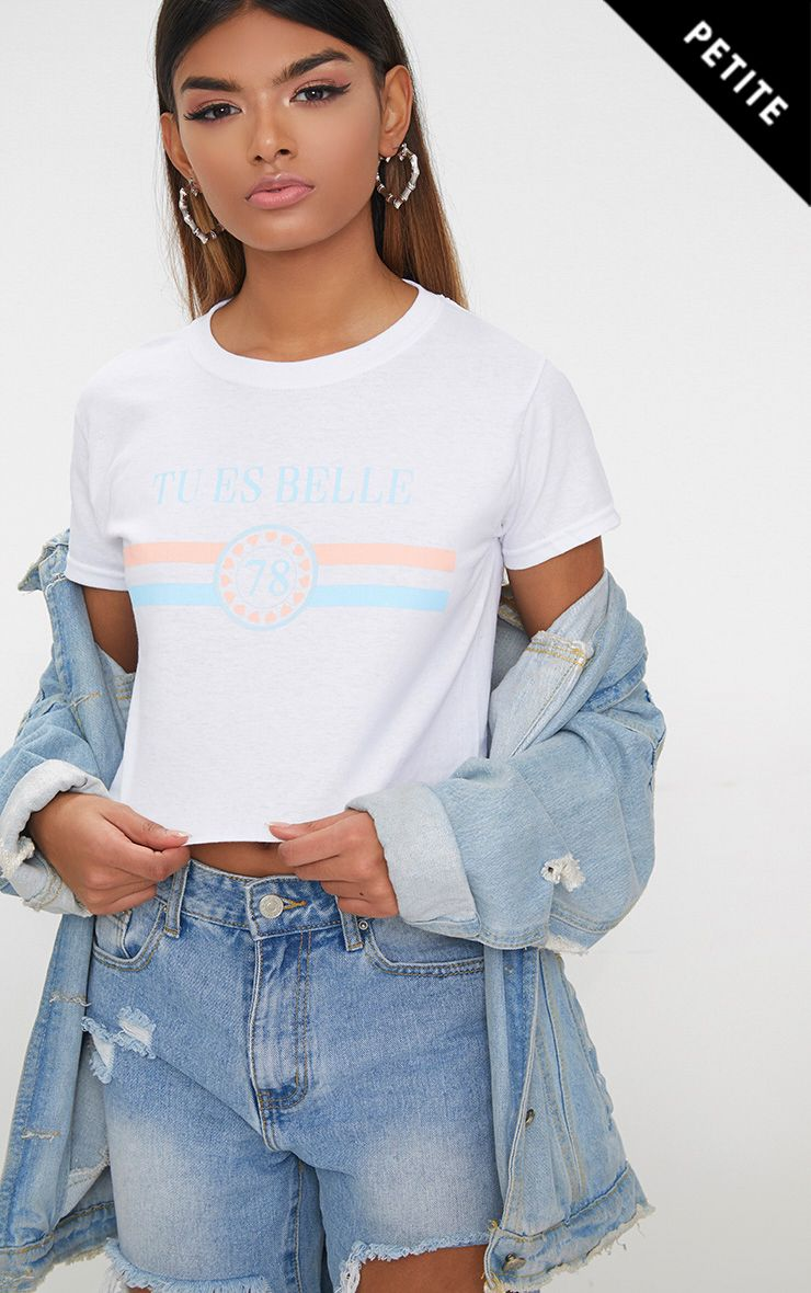 Petite White Tu Es Belle Slogan T-Shirt