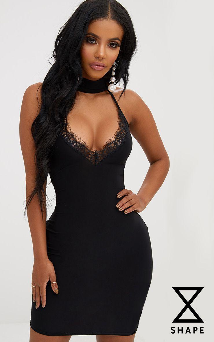 Shape Paris Black Mesh Top Panel Mini Dress