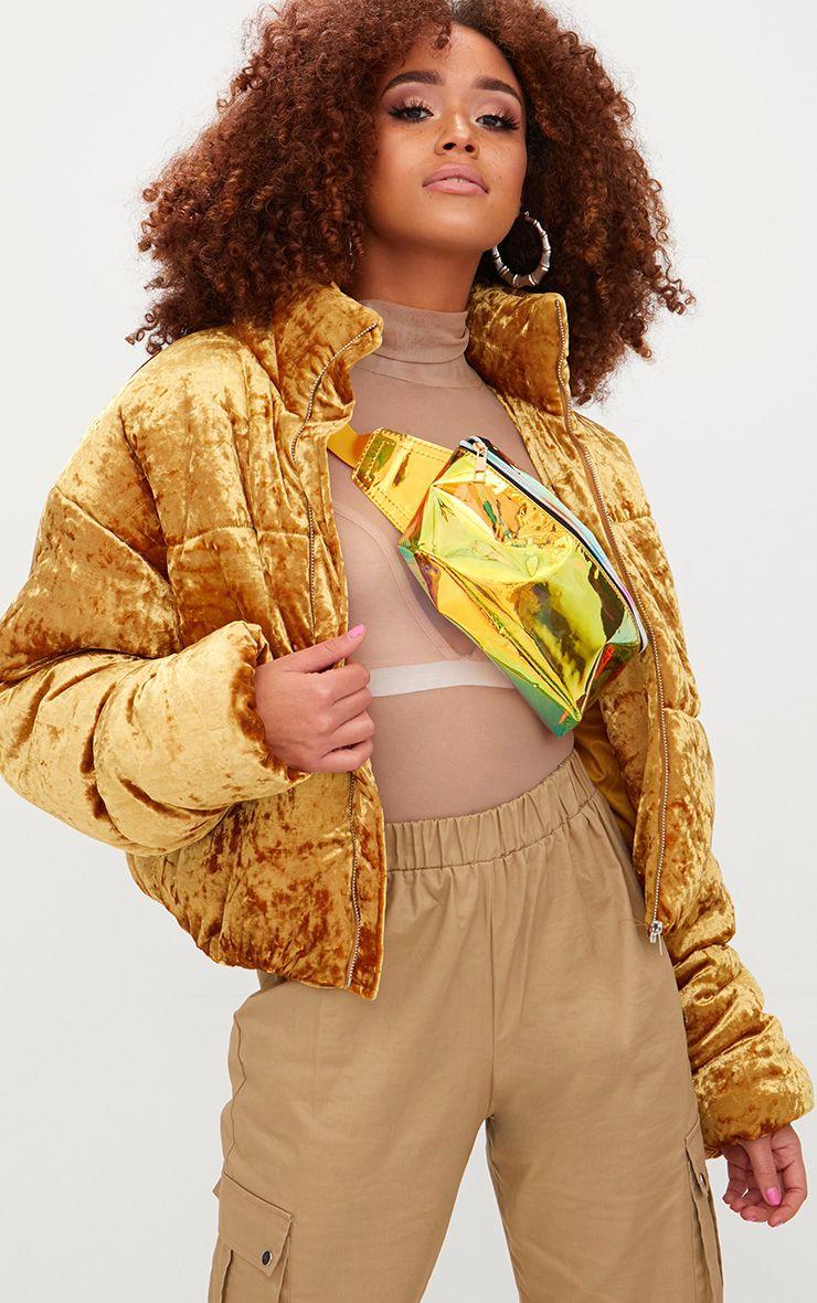 Mustard Velvet Cropped Puffer Coat