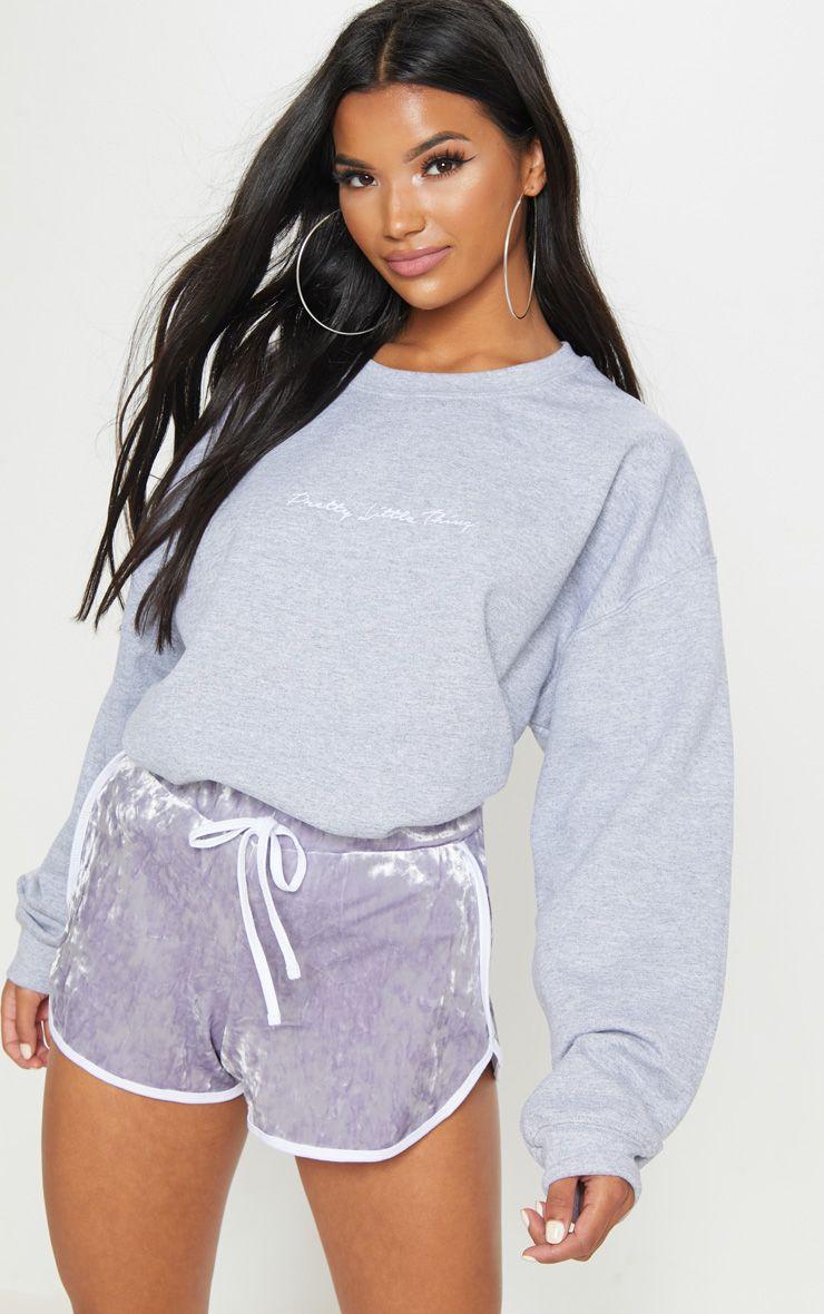 Lilac Velvet Contrast Binding Short