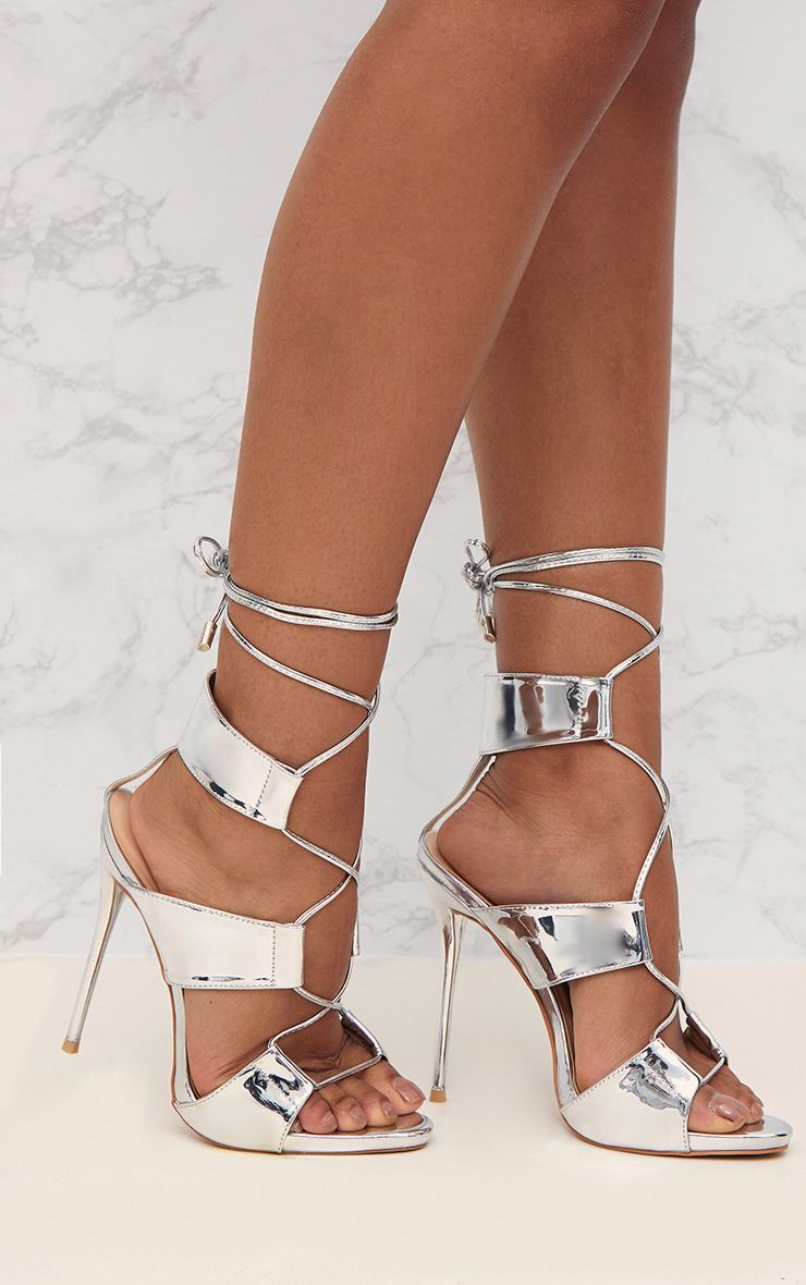 Silver PU Lace Up Detail Stiletto Heels
