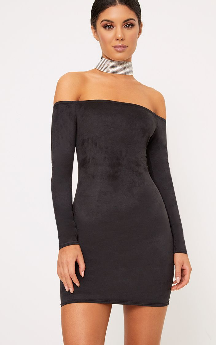 Violla Black Suede Bardot Long Sleeve Bodycon Dress