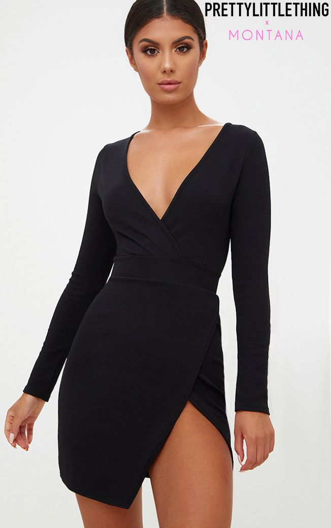 Black Plunge Wrap Detail Thigh Split Bodycon Dress